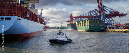 Fototapeta large container terminal in Hamburg in good weather