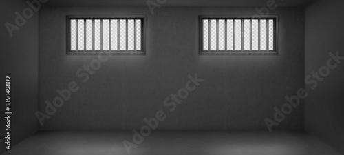 Fotografía Prison cell with barred windows, jail interior