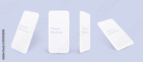 Obraz Realistic phone mockup, clay mobile set concept with shadow isolated. White smartphones in different angles view with blank screen, 3d vector illustration mocku up for app design presentation. - fototapety do salonu