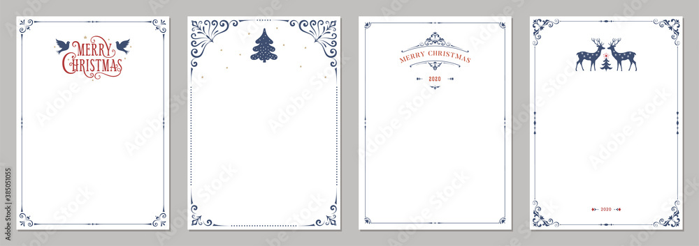 Fototapeta Ornate Merry Christmas greeting cards. Universal trendy business and corporate Winter Holidays art templates. Vector backgrounds.