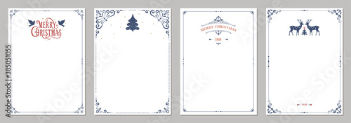 Fototapety, obrazy: Ornate Merry Christmas greeting cards. Universal trendy business and corporate Winter Holidays art templates. Vector backgrounds.