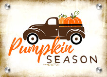 Pumpkins On A Truck Vector Illustration, Fall , Seasonal Art