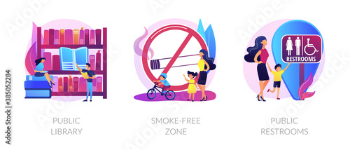 Obraz Urban places flat icons set. City recreation, people in bookstore. WC room sign. Public library, smoke-free zone, public restrooms metaphors. Vector isolated concept metaphor illustrations. - fototapety do salonu
