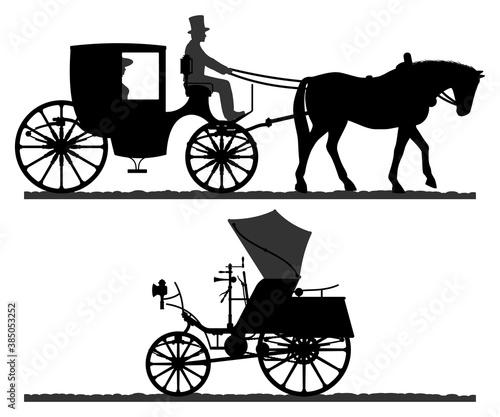 Canvas Print Retro transport silhouettes