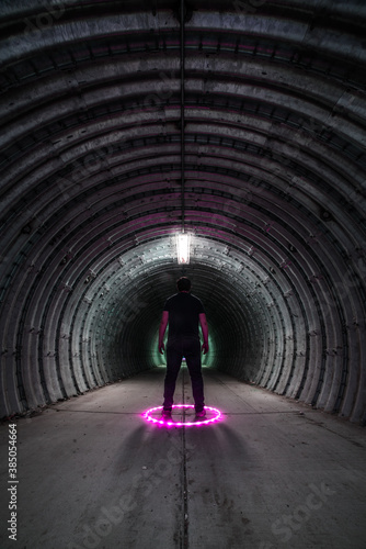 Lone Figure Standing in a Tunnel Fototapet