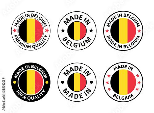 made in Belgium labels set, Belgian product emblem Fototapet
