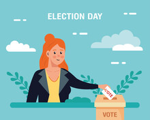 Election Day Woman With Vote P...