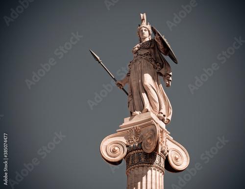 Fototapeta Athens Greece, Athena goddess marble statue on plain background