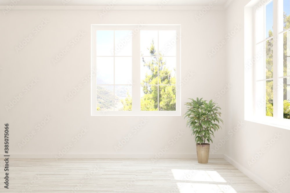 Fototapeta White empty room with summer landscape in window. Scandinavian interior design. 3D illustration
