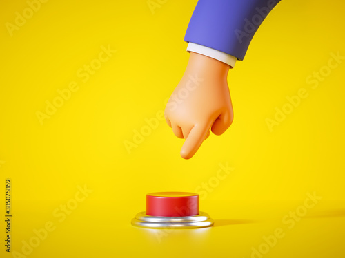 3d render, cartoon hand in blue sleeve is going to press the big red alert button isolated on yellow background Fotobehang