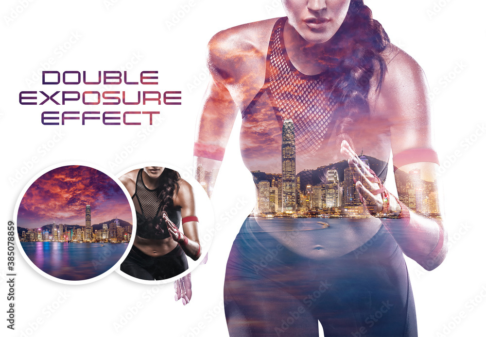 Fototapeta Double Exposure Photo Effect Mockup