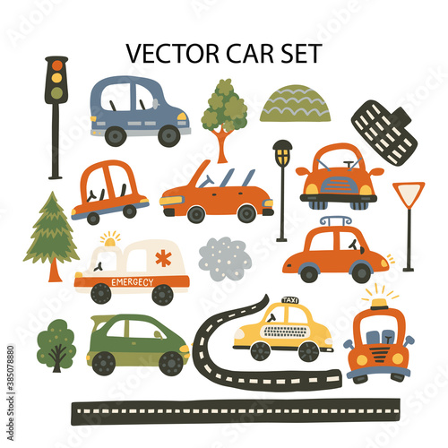 Fototapeta Car taxi, tree, traffic lights, emergency car vector illustration for baby boy shirt and room designs. Cute vehicle on a road travel poster. Kid auto card. obraz