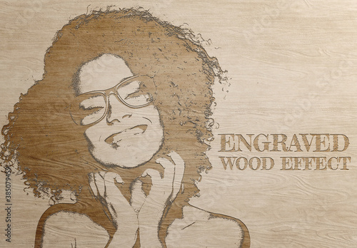 Engraved Wood Photo Effect Mockup