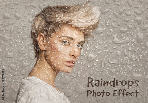 Raindrops Photo Effect Mockup