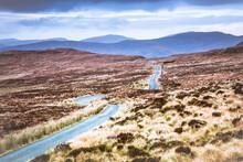 Single Track Road In Scottish Highlands
