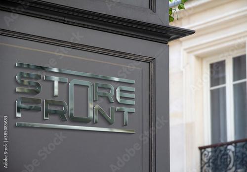 Reflective Storefront Logo on a Street Corner Mockup