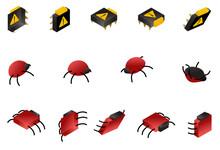 Computer Bug Isometric Icon Se...