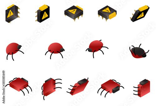 Computer bug isometric icon set isolated on white Fotobehang