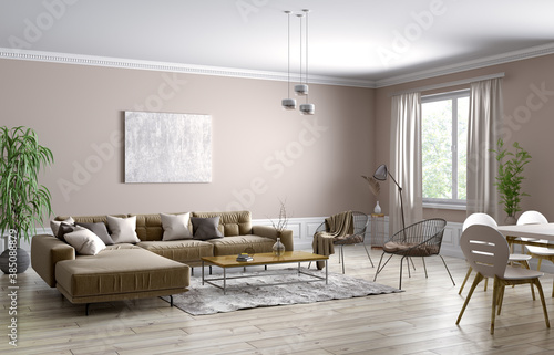 Obraz Interior design of modern scandinavian apartment, living room 3d rendering - fototapety do salonu