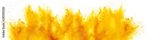 Obraz bright yellow holi paint color powder festival explosion isolated white background. industrial print concept background - fototapety do salonu