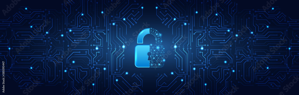 Fototapeta Internet security technology concept for business. Confidential data protection. Cybersecurity or information privacy idea. Padlock on the blue circuit board background.