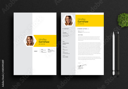 Minimal Resume and Cover Letter Layout with Yellow Elements