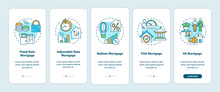 Mortgage Types Onboarding Mobile App Page Screen With Concepts. Fixed-rate, Ballon, FHA Mortgage Walkthrough 5 Steps Graphic Instructions. UI Vector Template With RGB Color Illustrations