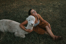 Lama Alpaca With Young Lady Smile Fun Travel Sunset