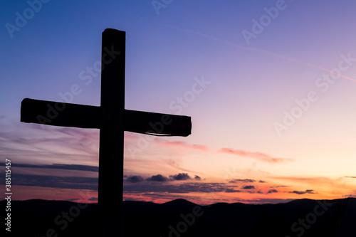Silhouette of a large cross Tapéta, Fotótapéta