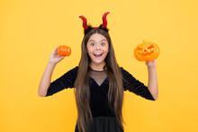 Halloween Child In Red Imp Hor...