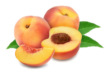 Ripe peach fruit with slices isolated on white background with clipping path and full depth of field