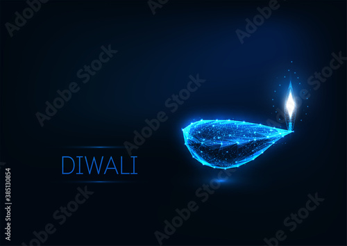 Fotografering Happy Diwali greeting card template with glowing low polygonal festival lights lamp, stars and text