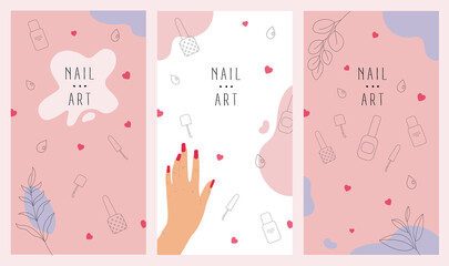 Social media stories and post hand drawn abstract background for beauty salon, print.Various shapes and doodle objects with line art.Simple trendy background template with space for text.Vector set