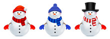 Set Of Vector Snowman Dressed In A Different Style