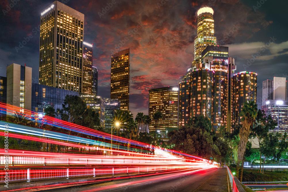 Fototapeta Los Angeles downtown at night