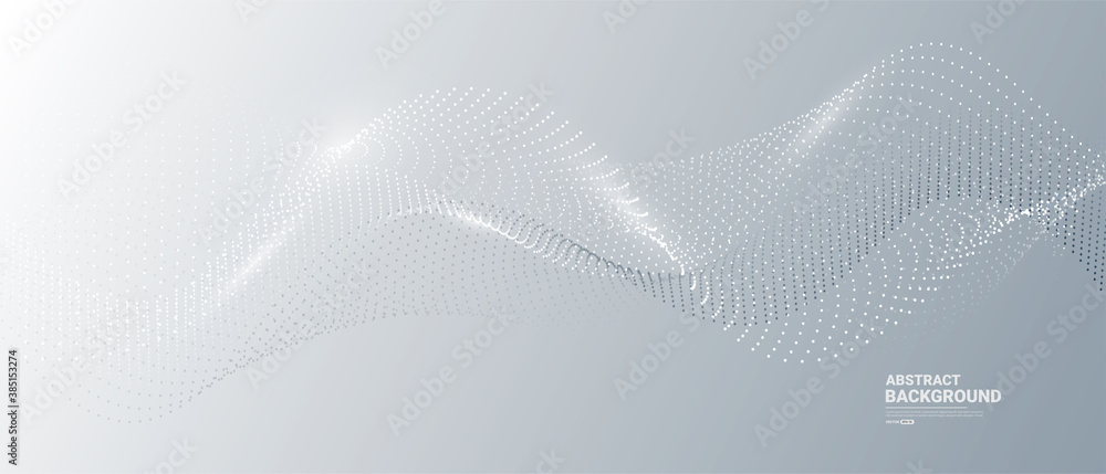 Fototapeta Gray and white abstract background with flowing particles. Digital future technology concept. vector illustration.