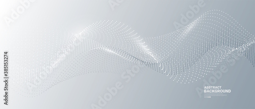 Gray and white abstract background with flowing particles. Digital future technology concept. vector illustration.