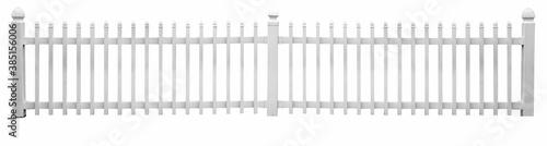 Fotografía Isolated white vinyl picket fence.
