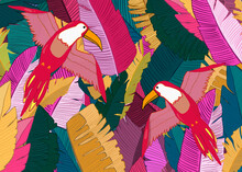 Drawing Of Birds On A Bright Background