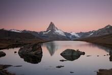 Mt Matterhorn Before Sunrise, Reflection In Stellisee Lake With Visible Umbra, Zermatt, Canton Valais, Switzerland, Europe, PublicGround, Europe