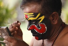 Kathakali Dancer Doing His Make Up, Chuvanna Thaadi Mask, Kerala, Southern India, Asia