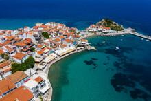 Greece, Kokkari, Aerial View Of Coastal Town In Summer