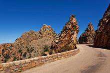 France, Corse-du-Sud, Piana, Road In Calanques De Piana