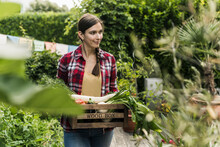 Young Woman Carrying Vegetables In Crate Looking Away While Standing At Garden