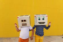 Friends Wearing Robot Costumes...