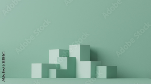 Minimal scene with podium and abstract background. Pastel blue and green colors scene. Trendy 3d render for social media banners, promotion, cosmetic product show. Geometric shapes interior.