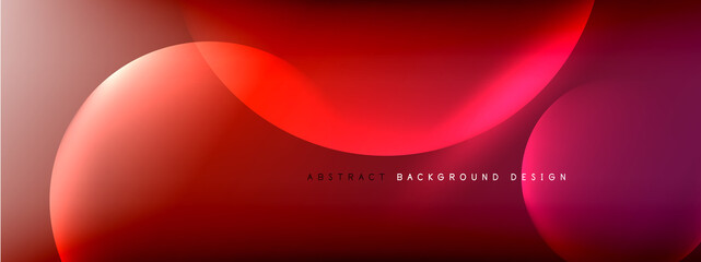 Fototapeta Boks Vector abstract background liquid bubble circles on fluid gradient with shadows and light effects. Shiny design templates for text