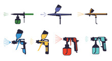 Paint Pistols Set. Sprayers Airbrushing Yellow Red Pulverizers With Nozzles Stylish Wall Art Graffiti Industrial And Artistic Painting Compressor Spraying Green Paint Elements Design. Vector Color.