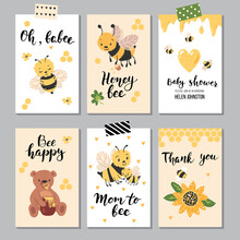 Honey Bees Cards,  Perfect For Children's Clothing, Nursery Prints, Kids Birthday And Baby Shower Invites. Vector Illustration.
