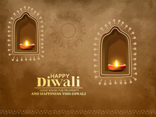 Creative Design For Happy Diwali , Diwali Festival With Oil Lamp